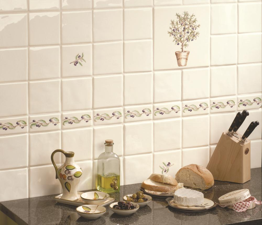Olive Branch Border on Off White | The Winchester Tile Company